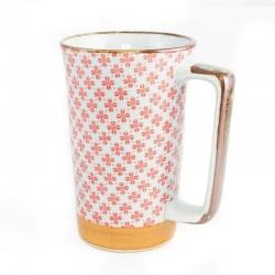 Grands mugs à fleurs rose