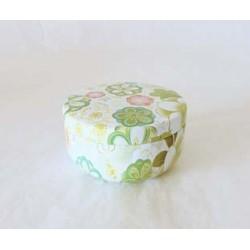 Petite boite à thé décor de fleurs verte