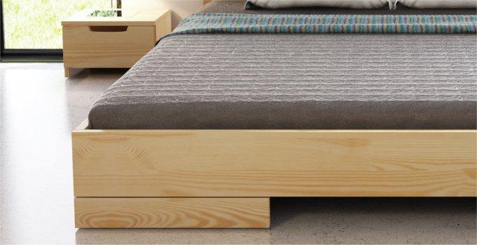 Détail du lit mokuzai bas en pin massif