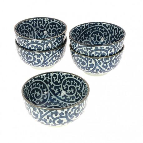Set de 5 bols japonais motifs Karakusa