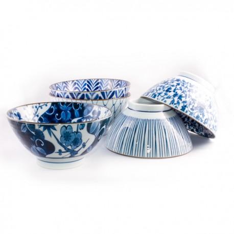 Set de 5 grands bols bleus