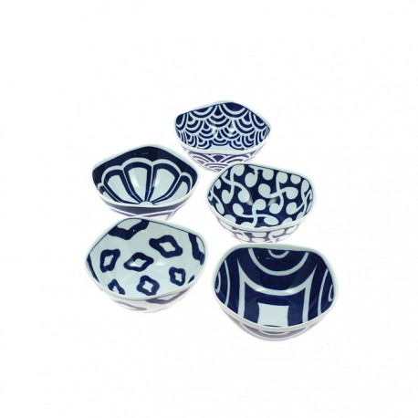 Set de 5 petits bols japonais Otoshi bleus