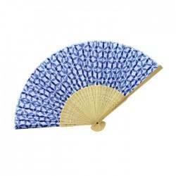 Eventail bleu en tissu