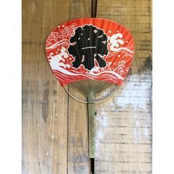 Eventail manche en bambou rouge