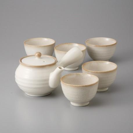 Service à thé blanc en céramique japonaise