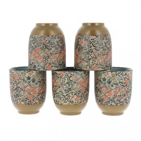 Set 5 verres à thé japonais Momiji