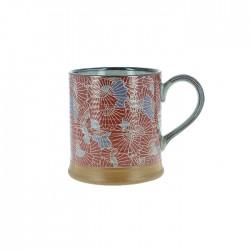 Mug en céramique japonaise motifs éventails rouge