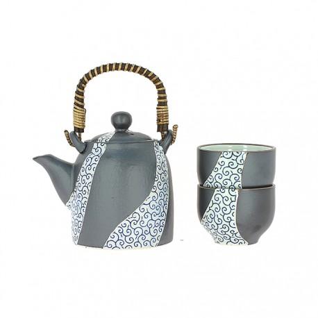 Service à thé japonais motifs Karakusa bleu