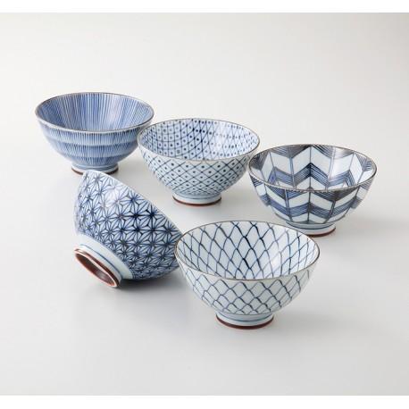 Set de 5 bols japonais dans les tons bleu et blanc