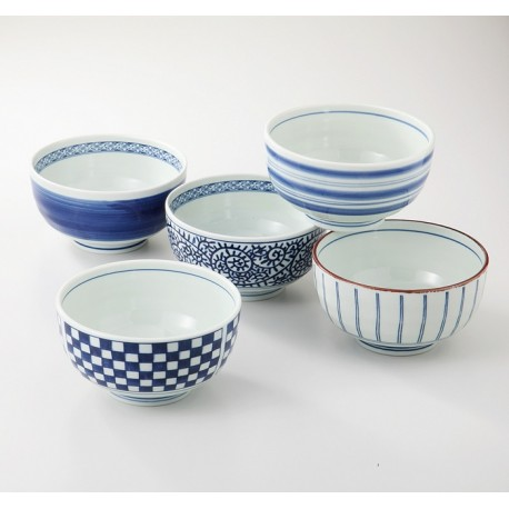 Set de 5 grands bols japonais