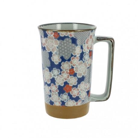 Grand mug en céramique japonaise motifs fleurs