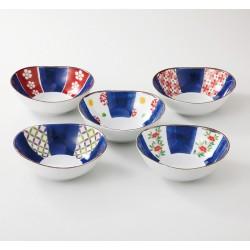 Set de 5 bols en porcelaine japonaise rouge et bleu