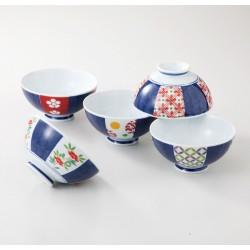 Set de 5 bols japonais bleu et rouge