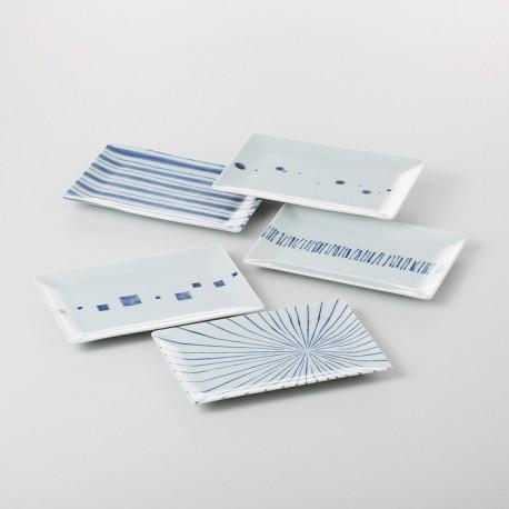 Set de 5 plats à sushi japonais blancs et bleus
