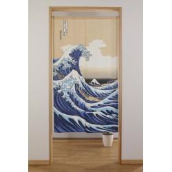 Rideau japonais Noren Vague d' Hokusai