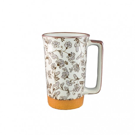 Mug japonais blanc et fleurs