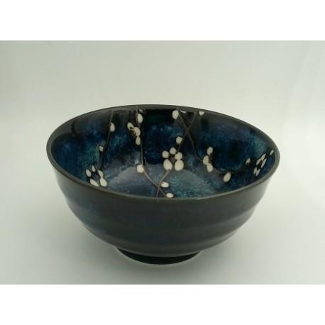 Bol japonais bleu motifs fleurs de cerisier