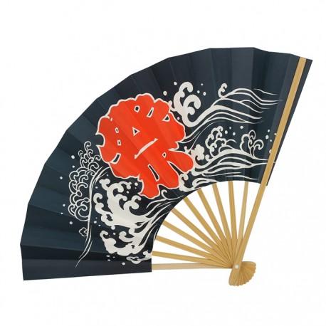 Eventail japonais motifs Kanji et vagues