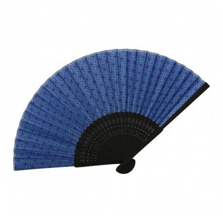 Eventail japonais Sensu bleu