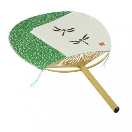Eventail japonais Uchiwa vert motifs libellules