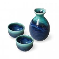 Service à sake japonais bleu