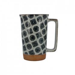 Grand mug bleu et blanc motifs ronds et carrés