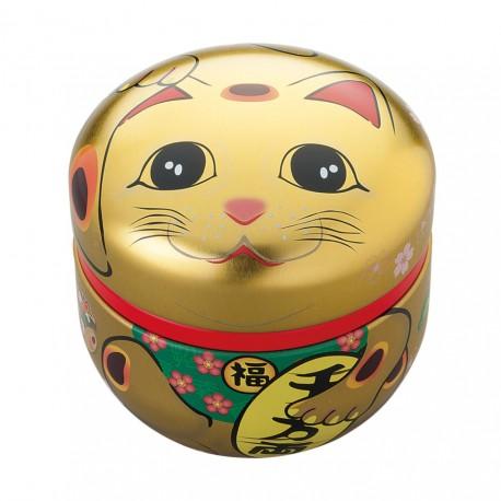 Boite à thé Maneki Neko dorée