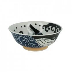 Grand bol japonais vagues et baleine
