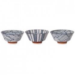 Set de 3 bols à Ramen lignes et vagues
