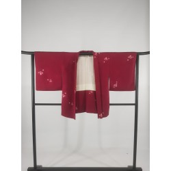 Veste Haori femme rouge en soie