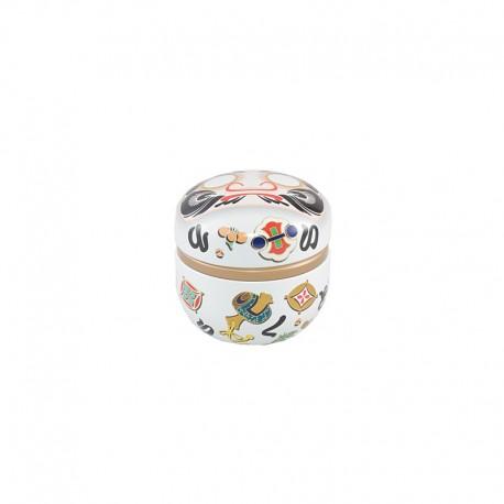 Petite boite à thé japonaises Daruma blanche