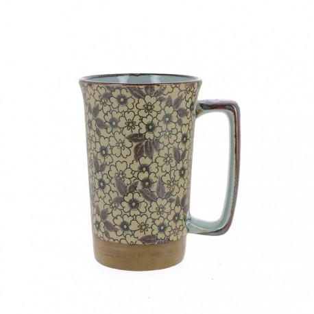 Mugs en céramique japonaise motifs fleurs avec anse Hana