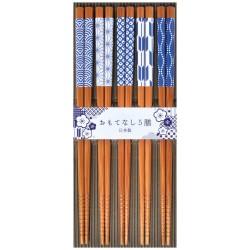 Set de 5 paires de baguettes japonaises bleus