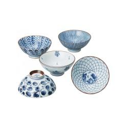 Set de 5 bols japonais bleus et blancs