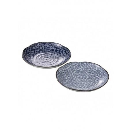 Assiettes japonaises rondes et bleus