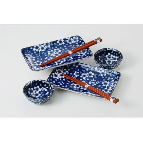 Set 2 plats et coupelles bleus motifs fleurs