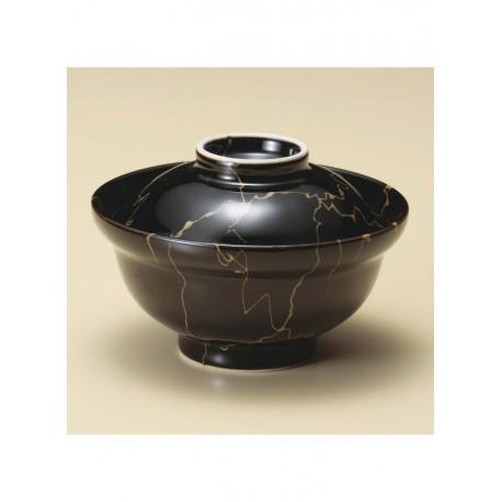 Bol japonais noir avec couvercle