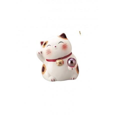 Maneki neko tirelire blanc et rouge