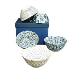 Set de 5 bols en céramique japonaise dans les tons bleu