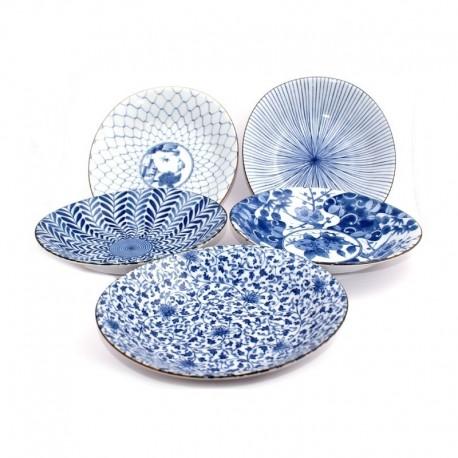 Set de 5 assiettes dans les tons bleus en céramique