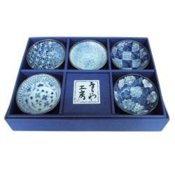 Set de 5 raviers bleus en céramique japonaise