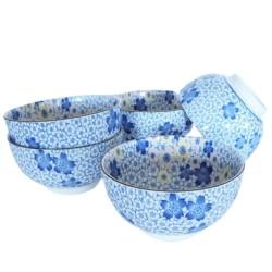 Set de 5 bols japonais bleus motifs fleurs