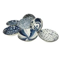 Set de 7 coupelles bleus en céramique japonaise