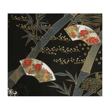 Kimono japonais motifs éventails couleur noir