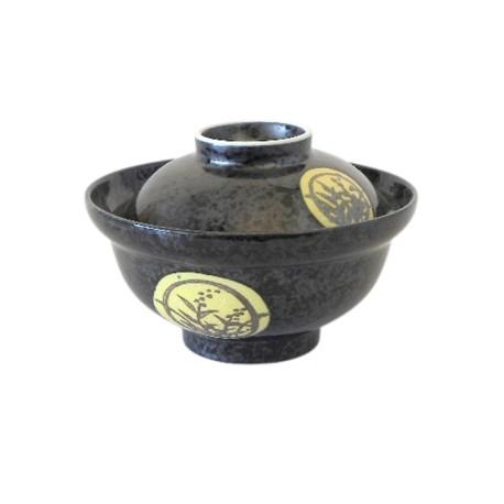 Bol japonais avec couvercle noir