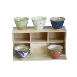 Set 5 tasses à thé évasées en céramique japonaise