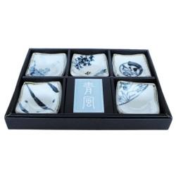 Set de 5 coupelles japonaises bleues et blanches en céramique