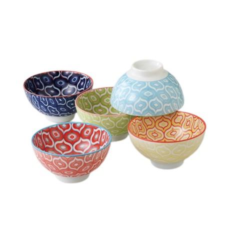 Set de 5 bols à riz japonais colorés