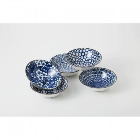 Set de 5 bols japonais bleus avec motifs