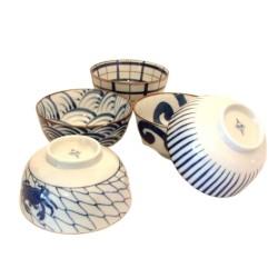 Set de 5 bols japonais bleus